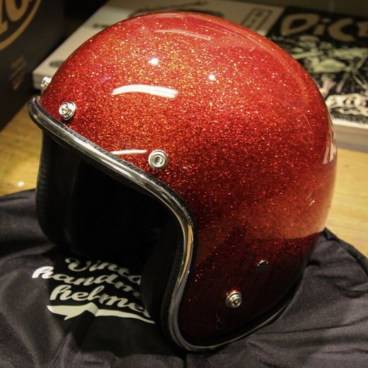 Fire Red Metalflake open faced helmet